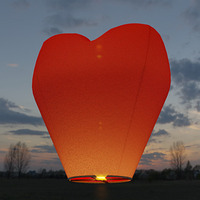 Фейерверк - Небесный фонарик, сердце стандарт (красный)